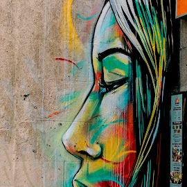Street art by Luz UK - Painting All Painting ( girl, street, art, paint )