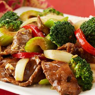 Beef Stir Fry With Peppers, Celery And Broccoli