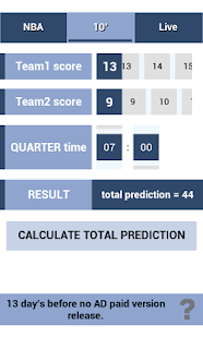 Basketball total predict - screenshot