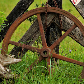 The Wagon Wheel by Leah Zisserson - Artistic Objects Other Objects ( wagon wheels, wheel, green, wagon, brown, rust, country )