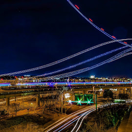 Take off by Dale Youngkin - Transportation Airplanes ( airport, light trails, washington dc, night, transportation )