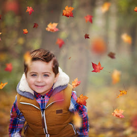 fun in the leaves by Melissa Marie Gomersall - Babies & Children Toddlers ( orange, harry, season, autumn, oragne, fun, cute, colours )