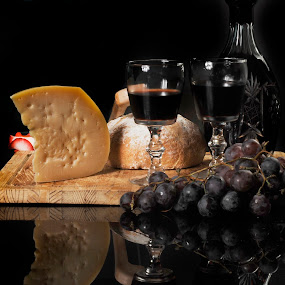 Cheese, wine and bread by Cristobal Garciaferro Rubio - Food & Drink Ingredients ( cup, reflection, gass cup, grapes, wine cup, cheese )
