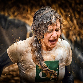 Crying BUT Continuing To Persevere ! by Marco Bertamé - Sports & Fitness Other Sports ( differdange, strong, woman, 2015, lady, crying, strongmanrun, running, luxembourg )