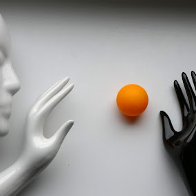 Ping pong... by Zenonas Meškauskas - Artistic Objects Other Objects ( hand, sculpture, ball, white, yellow, head, ping pong, black )
