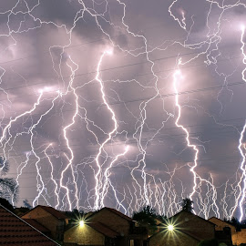 Lightning in Johannesburg by Chris Anderson - Landscapes Weather ( scary, lightning, highveld, night photography, johannesburg, south africa, long exposure, thunder storm, storm )