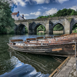 Durham Riverside by Adam Lang - City,  Street & Park  Historic Districts ( durham, sky, boats, bridge, river )