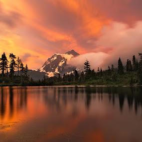 Golden sunset at Mt. Shuksan by Peter Cheung - Landscapes Sunsets & Sunrises ( washington, shuksan, mt. baker,  )