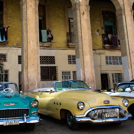 Havana Taxis by Chris Seaton - City,  Street & Park  Street Scenes ( car, taxi, classic car, automobile, street scene, havana, laundry,  )