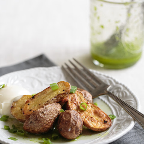 Roasted Potatoes with Chive Oil and Creme Fraiche