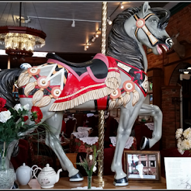 Carousel Horse   by Mina Thompson - Artistic Objects Antiques ( oregon, carousel horse, horse, historical, restaurant, antique )