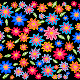 Colorful flowers on black background by Dipali S - Illustration Flowers & Nature ( template, abstract, vintage, greeting, decoration, paper, illustration, art, beautiful, white, shape, postcard, beauty, spring, backdrop, decor, season, pattern, nature, background, summer, card, flower, design, floral )