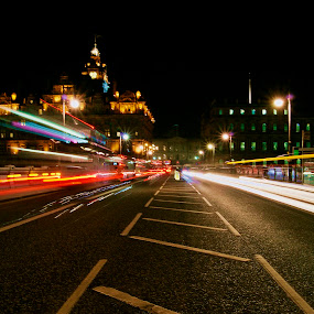faster by Danny Charge - City,  Street & Park  Street Scenes ( bus, edinburgh, street, trails, light, balmoral )