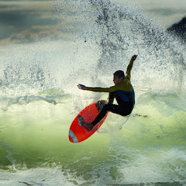 Neon Surfer by Deon Warrington - Sports & Fitness Surfing ( surfer, wave, surf )