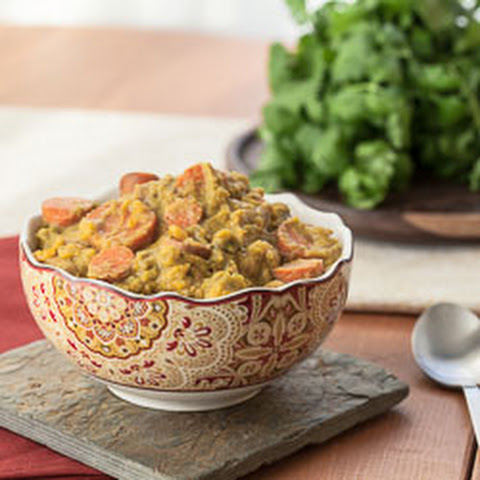 Slow Cooker Sweet Potato, Cauliflower, and Broccoli Curry