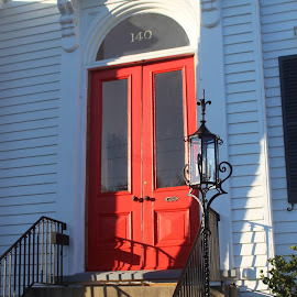 Red Door by Gina Watson Setzer - Buildings & Architecture Homes ( home, building, red, door, steps, shadows, historic,  )
