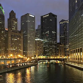 Chicago River at Night by John Goldenne - Instagram & Mobile iPhone ( iphoneography, night photography, iphoto edited, skylines, iphone )