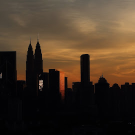 Black & orange by Afiq Ab Rahman - Buildings & Architecture Office Buildings & Hotels ( orange, kl tower, klcc, skyline, silhouette, sunset, dark, buildings, architecture, black )