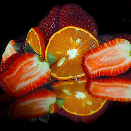 fruits on and in mirror by LADOCKi Elvira - Food & Drink Fruits & Vegetables ( fruits )