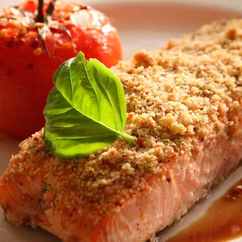 Almond Crusted Salmon with Steamed Broccoli and Sweet Potato Hash Brown