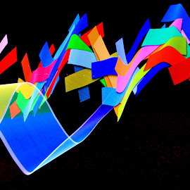Colour in the Night by Susan Marshall - Abstract Light Painting ( colour, light painting, bright, beach, light,  )