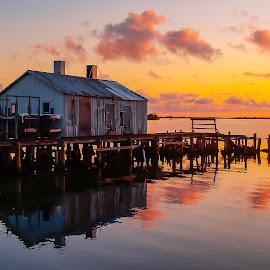 Sunrise at the old fish house. by Scott Bland - Landscapes Sunsets & Sunrises