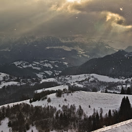 Enchanting by Comsa Bogdan - Landscapes Mountains & Hills ( mountain, dream, enchanting, sirnea, snowflake, morning, landscape, photography, sky, village, gorgeous, cloud, radius )