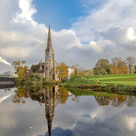 Copenhagen St Alban's Church by Jamie Ledwith - City,  Street & Park  Historic Districts ( copenhagen, reflection, sky, church, st alban )