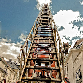 Up! by Richard Michael Lingo - Artistic Objects Other Objects ( artistic objects, climb, ladder, fire truck, norway )