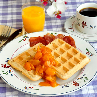 Cinnamon Waffles with Apricot Orange & Brandy Compote