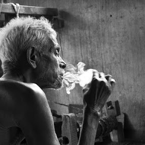 On his Own clouds!!! by Sudharshun Gopalan - People Portraits of Men ( sudharshun, old man, smoke )