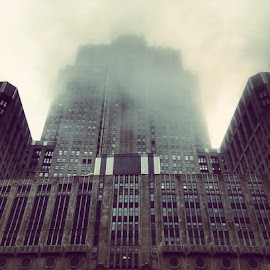 The Chair by David Plummer - Buildings & Architecture Architectural Detail ( chair, building, fog, lyric opera, chicago, city )
