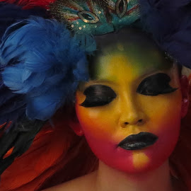 Rainbow Woman by Victor Mirontschuk - People Portraits of Women ( makeup, woman, feathers, rainbow, portrait )