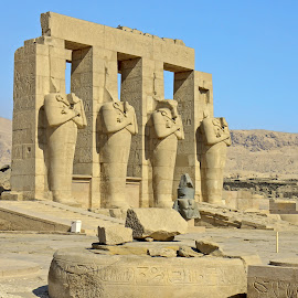 Egypt Thebes Mortuary Temple  by Graham Mulrooney - Buildings & Architecture Places of Worship ( mortuary temple, west bank, egyptian, ramessess ii, ramesseum, ozymandias, statues, stone, blocks, etched, egypt, broken, thebes, horizontal, head, rocks )