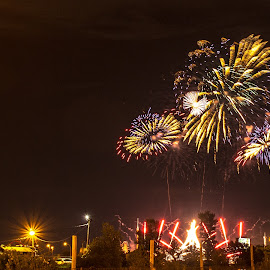 Fireworks over La Ronde by Yash Mehta - Abstract Fire & Fireworks ( sparkles, colors, fireworks, vibrant, glittering, spain, competition )