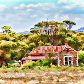 Red Homestead by Carole Pallier Cazzazsnapz - Digital Art Things ( home, hills, old, ranges, white, outback, house, homestead, country, red, derelict, bush, bricks, tank, abandoned )