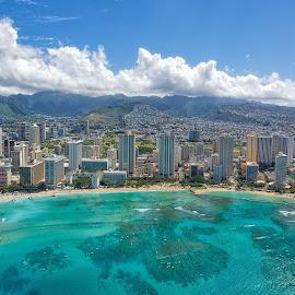 Waikiki Beach Helicopter View by Martin Belan - City,  Street & Park  Skylines ( waikiki beach, oahu helicopter, cityscape, beach, coastline, hawaii,  )