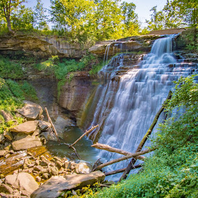 Brandywine Falls by Andrew Christmann - Landscapes Waterscapes ( water, brandywine falls, ohio, green, waterfall )