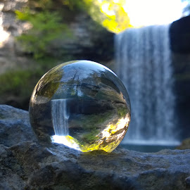 Reflections of Greeter by Holly Stokes - Artistic Objects Other Objects ( crystal ball, tennessee waterfall, glass ball, waterfall, reflections, greeter falls )