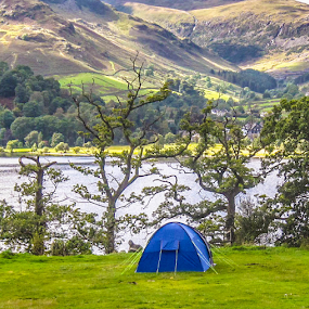 The Perfect Spot by Del Candler - City,  Street & Park  Vistas ( field, england, mountains, grass, blue, green, patterdale, campground, tent, trees, lake, ullswater,  )