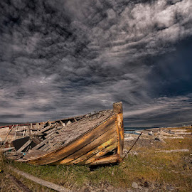 Woody Beach by Þorsteinn H. Ingibergsson - Transportation Boats ( clouds, iceland, sky, nature, wreck, structor, beach, boat, landscape, abandoned )