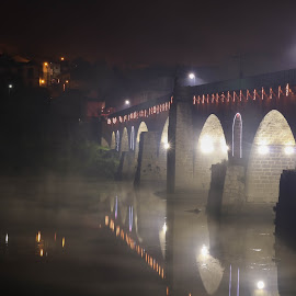 by Cátia Moreira - Buildings & Architecture Bridges & Suspended Structures ( night scene, christmas lights, christmas, nightscape, lights, foggy, night photography, night view, fog, nighttime, night, bridge, bridges, nightscapes )