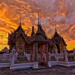 Temple at Sunset by Charliemagne Unggay - Buildings & Architecture Places of Worship ( temple, building, sunset, place of worchip, architecture,  )