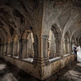 Abbey by Adrian O'Neill - Wedding Bride & Groom ( love, love couple, abbey, woman, man, ireland )