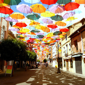 'Umbrellascape' by Dhannya Jacob - City,  Street & Park  Street Scenes ( umbrellas, streeets, summer, colours )