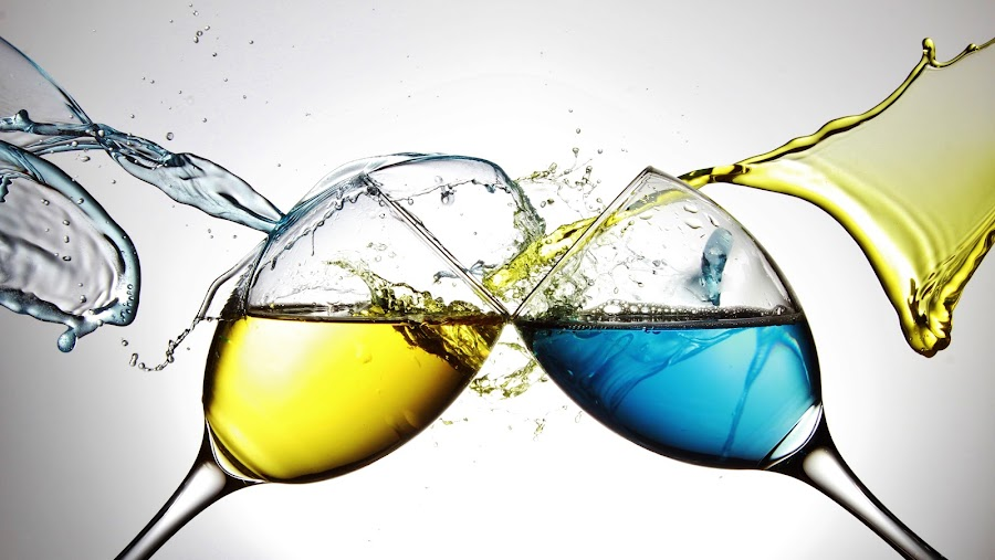 Blue and yellow water on two glasses by Peter Salmon - Artistic Objects Glass ( water, glasses, blue, glass, yellow )