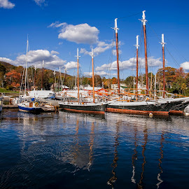 Camden Harbor by Bob Ricketson - Transportation Boats ( clouds, water, maine, fall, boats, camden, seascape, leaves )