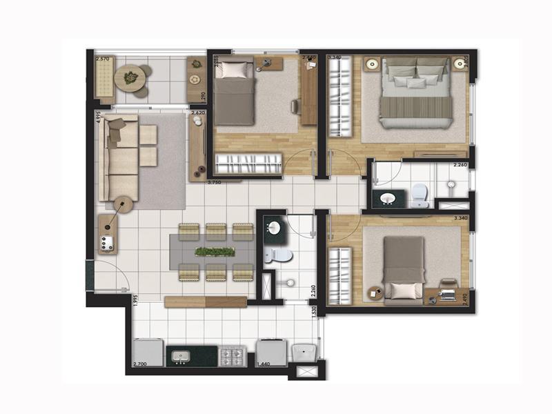Planta Tipo 71m² com 3 Dormitórios
