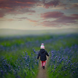 Field Of Dreams by Una Williams Photos - Babies & Children Children Candids ( child, sky, sunset, flowers, misty, #GARYFONGDRAMATICLIGHT, #WTFBOBDAVIS )