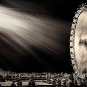 The Beauty of London Eye  by Fredrik A. Kaada - Buildings & Architecture Public & Historical ( clouds, asymmetry, heaven, low-key, architecture, engineering, people, city, contrast, londoneye, area, sky, details, london, powerfull, motion, public, light, infrastructure, black, londonarch )